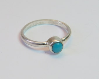 Sterling Silver Turquoise Ring, December Birthstone, Blue stone ring, Boho RIng, Handmade Ring,  Summer Turquoise Jewellery, Size S,