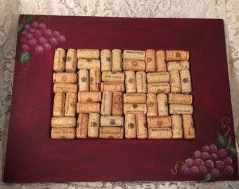 Wine Cork Board Hand Painted Grapes Wine Lover Cork Board Office ECS,