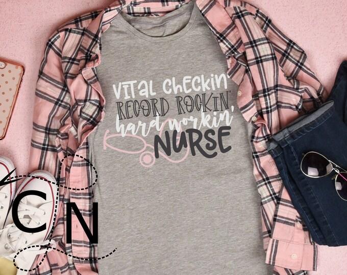 Nurse, Svg, Shirt Design, Nursing, Stethoscope, Hard Working, Commercial, Cutting File, Cricut File, Silhouette Files, Template, Nurse Gift