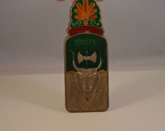 Vintage clothes peg,enamel,brass,paper holder,taurus,bull,,lilly prince figure