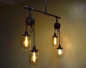 Industrial Pulley Chandelier