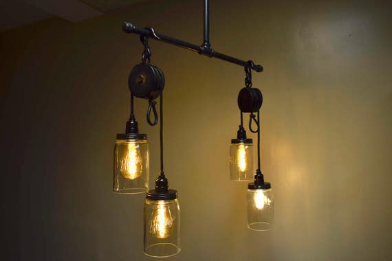 Industrial pulley chandelier aloadofball Image collections