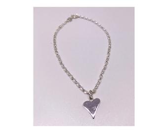 Sterling silver heart chain bracelet