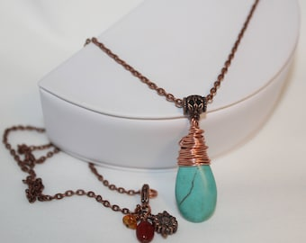 Turquoise Necklace Wire Wrapped Copper Long Chain Amber Carnelian Sunflower Charm Shimmer Shimmer