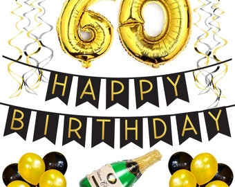 60th Birthday Party Pack – Black & Gold Happy Birthday Bunting, Poms, and Swirls Pack- Birthday Decorations – 60th Birthday Party Supplies