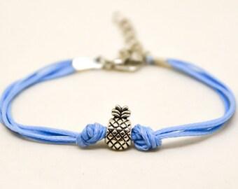 Birthday gift, Pineapple bracelet, blue cord bracelet with a silver pineapple charm, fruit bracelet, summer jewelry, minimalist, friendship