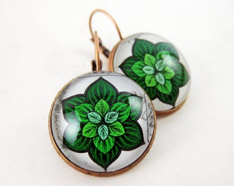 Green Succulent Leverback Earrings, 1973 Singapore Postage Stamp, Nickel Free Copper, Green & White, Floral Plant Jewelry, Mandala, Gift