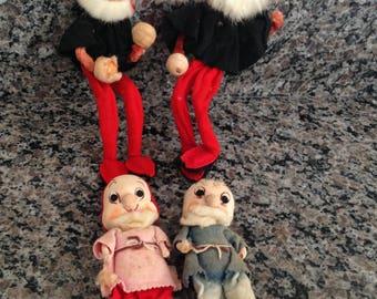 Four Made in Japan Vintage Spun Cotton Sawdust and Nylon Elf Dolls 1959