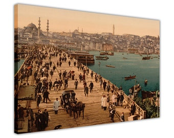 Vintage Ottoman 1800's Istanbul Canvas Pictures Wall Art Prints Home Decoration Photos Framed Poster City Images