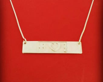 Braille necklace braille name necklace braille jewelry karma necklace sterling silver