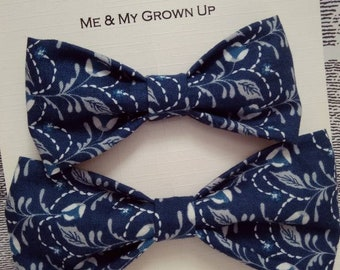 Blue Floral bow tie set, mens blue bow tie, boys blue bow tie, child's blue bow tie, wedding bow tie, mens gift set, Father's day gift