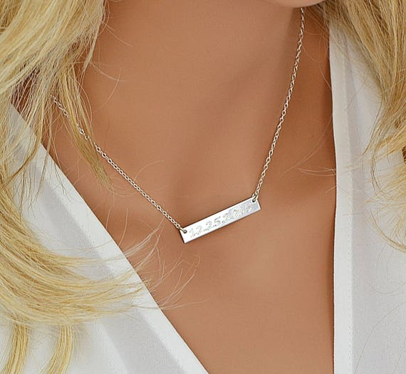 Sterling Silver Bar Necklace Personalized Bar Necklace