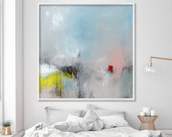 """large blue abstract painting Giclée print large wall art modern up to 40x40"""" Abstract Art Acrylic Painting light blue yellow pink"""