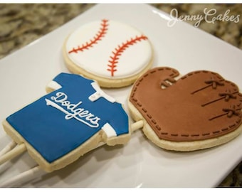 24 Baseball / LA Dodgers Decorated Butter Cookies or Cookie Pops