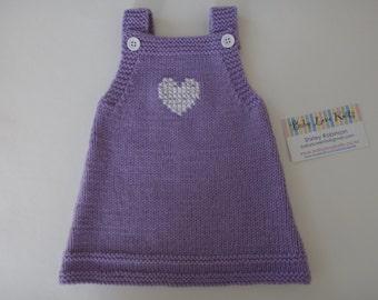 Valentine baby dress  Hand knitted dress, baby girl dress, girl dress, hand knitted heart dress, baby heart dress, hand knitted clothing