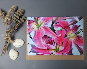 Vibrant Pink Lilies, Photographic greeting card, Notecard,  Floral, Card for her,