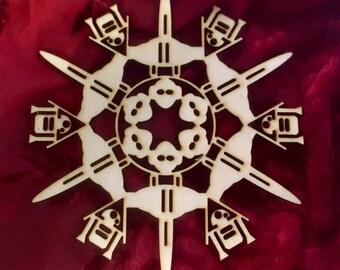 """Star Wars Jedi Starfighter Laser Cut Wood """"Snowflake"""" Ornament"""