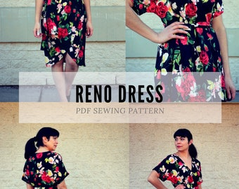 The Reno Dress PDF sewing pattern and step by step sewing tutorial for women.  Pattern available in sizes 4 to 22 with illustrated sewing
