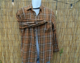 Flannel Shirt Hipster Brown Flannel Large Grunge Shirt Vintage St. John's Bay Flannel Shirt Great Ladies Flannel Shirt Soft Muted Brown