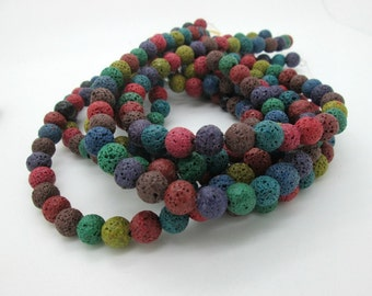 """Lava Rock Round, Mixed Color Beads, 10mm (15"""" strand)"""