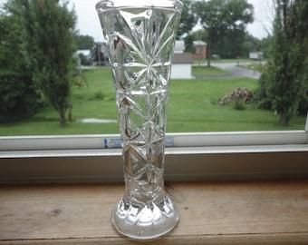 Starburst Pressed Glass Vintage Rose Bud Vase Home Decor Flower Holder