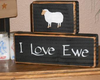 I LOVE EWE w/sheep   primitive shelf sitter  Valentines