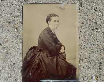 Antique Tin Type Small Picture Girl Unframed 1800s