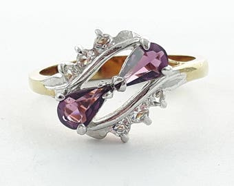 Vintage 14KT Electroplated Amethyst Pear Duo CZ Ring - Size 6.5 Ring - VPE223
