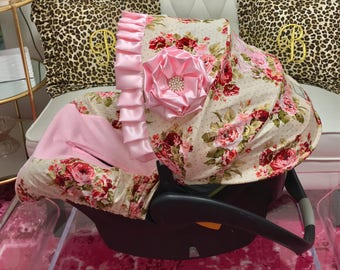Baby Car Seat Covers, Roses Infant Car Seat Covers, Baby Girl Infant Car Seat Covers, Rambling Roses Baby Seat Covers, Fancy Baby Car Seats