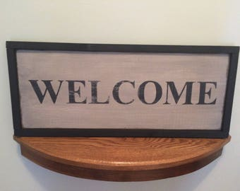 Welcome Sign, Distressed Wood Sign, Rustic Charm, Farmhouse SIgn Rustic Wood Sign