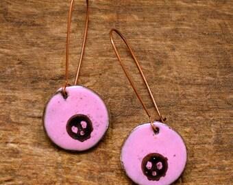 Skull Earrings - Enameled Copper - Dangle Earrings - Pink and Black