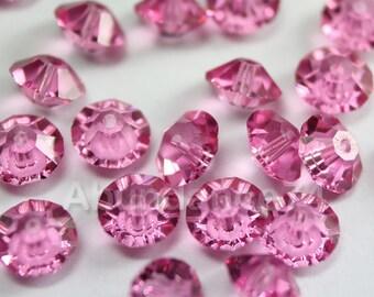 24 pcs Swarovski Elements - Swarovski Crystal Beads 5305 5mm Spacer Beads - Rose