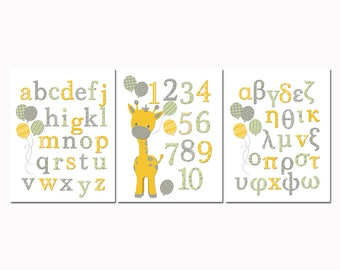 Greek abc wall decor alphabet poster giraffe nursery art numbers poster baby boy girl room decoration toddler baby shower gift yellow green
