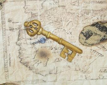 Hand-carved wooden skeleton key OOAK
