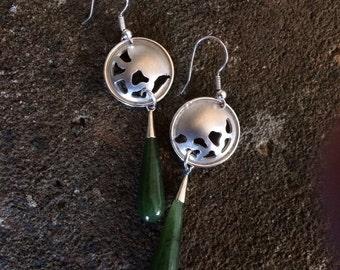 Long silver drop earrings with jade drop stones