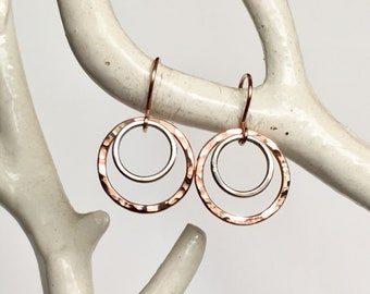 Hammered Mix Metal Tiny Rose Gold Filled and Sterling Hoops - Everyday Earrings - Bridesmaid Earrings