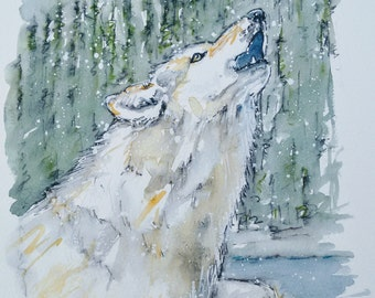 Wolf painting art original wildlife watercolour painting of a white wolf howling, The Winter Wolf by EdieBrae