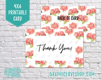 Digital 4x6 Floral Watercolor Rose Thank You Card - Folded & Postcard | High Res JPG Files, Instant Download, Ready to Print, NOT Editable