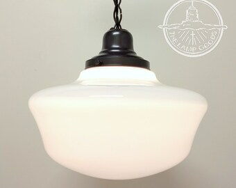 VINTAGE Milk Glass Schoolhouse PENDANT Light Extra Large - Ceiling Lighting Farmhouse Repurposed Country Flush Mount Kitchen Glass LampGoods