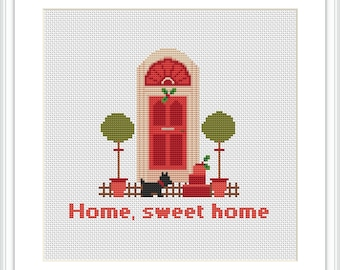 Home Sweet Home cross stitch pattern Instant Download Modern cross stitch pattern Free shipping Cross-Stitch PDF X025