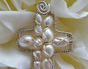 Wire wrapped Sterling silver one-of-a-kind Cream Pearl Cross Pendant