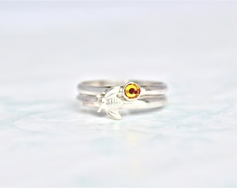 Honey Bee Ring Set.  Sterling Silver Ring with Citrine Yellow Swarovski & Sterling Silver Bumble Bee.