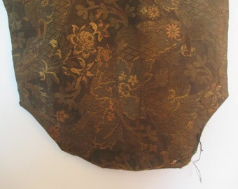 Antique Floral Pattern Silk Tapestry Fabric ~ Was Table Runner or Wall Hanging