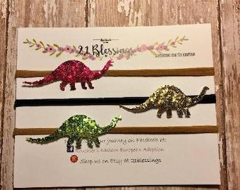 Dinosaur Glitter Hair Accessory| Brontosaurus| Headband OR Hair Clip|Shamrock|Baby, Toddler, Girls, Adult