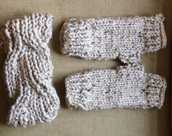 Christmas present chunky earwarmer / headband and fingerless glove/mitt set