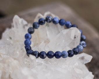 Sodalite crystal stone bead bracelet