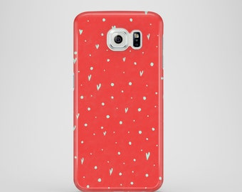 Coral Hearts mobile phone case / Samsung Galaxy S7, Samsung Galaxy S6, Samsung Galaxy S6 Edge, Samsung Galaxy S5, cute phone case