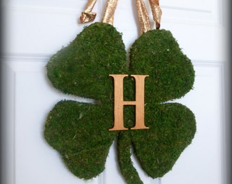 St. Patricks Day Wreath - Monogrammed Moss Shamrock - Moss Covered Wood Shamrock with Copper Monogram Letter & Wired Bow.