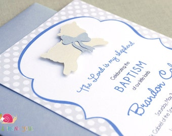 Lamb of God Invitations · BLUE A6 FLAT · Bluebell and Cream Shimmer · Christening | Baptism | Dedication | First Holy Communion