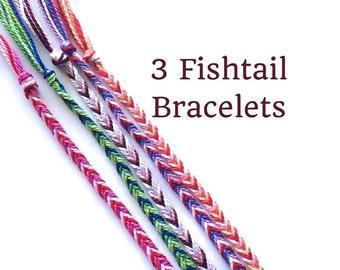3 String Bracelets, Friendship Bracelets, Fishtail Bracelets, Thread Bracelets, Boho Bracelet, Woven Bracelets, String Friendship Bracelets